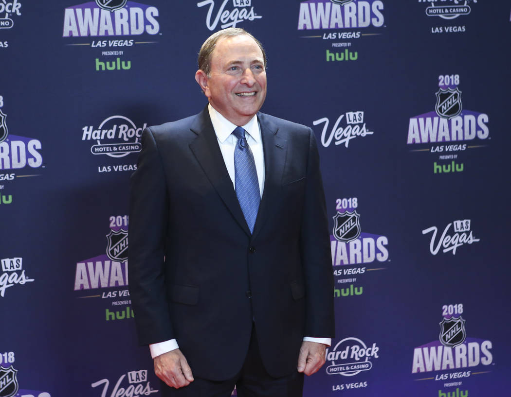 NHL Commissioner Gary Bettman poses on the red carpet ahead of the NHL Awards at the Hard Rock Hotel in Las Vegas on Wednesday, June 20, 2018. (Chase Stevens/Las Vegas Review-Journal) @csstevensphoto