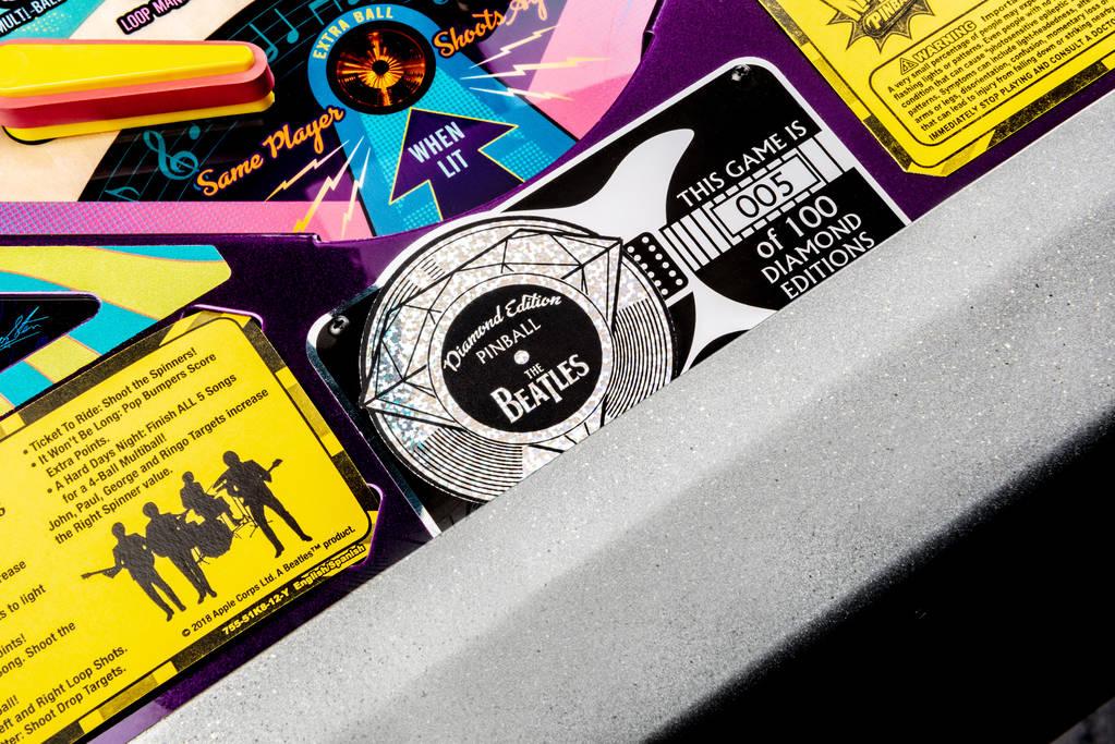 A close shot of the Beatles Pinball Machine Diamond edition. (Stern Pinball)