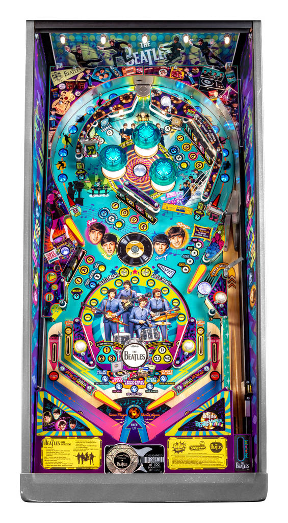A wide-angle shot of the Beatles pinball machine Diamond edition. The machines will be available starting Monday and will cost under $10,000. (Stern Pinball)