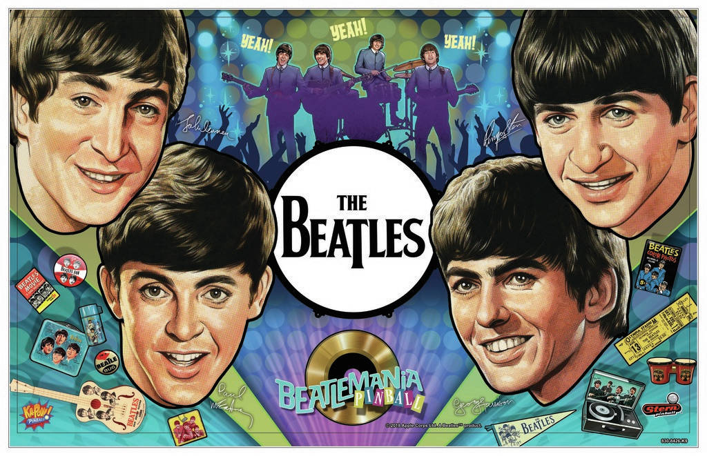 The Beatles pinball machine Diamond edition. The theme of the game is based on the Beatles coming to America in 1964. (Stern Pinball)
