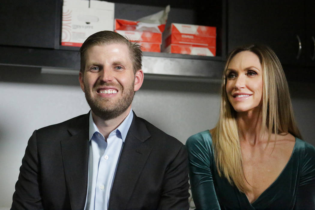 Eric and Lara Trump talk with reporters after a rally for U.S. Representative Cresent Hardy at the Nevada Republican Party's Summerlin office on Monday, October 29, 2018. Michael Quine/Las ...