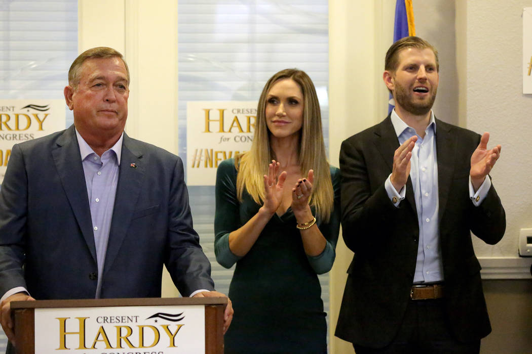 Eric and Lara Trump show their support for U.S. Representative Cresent Hardy during a rally at the Nevada Republican Party's Summerlin office on Monday, October 29, 2018. Michael Quine/Las ...