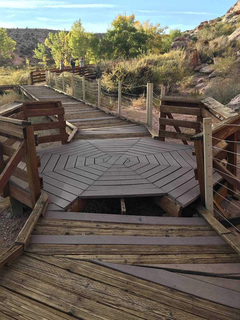Missing planks create a safety hazard at the Red Spring boardwalk at Red Rock Canyon National Conservation Area on Oct. 29. (Henry Brean/Las Vegas Review-Journal)