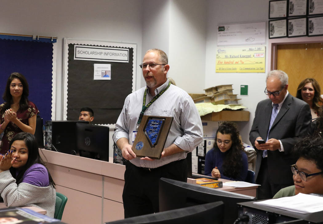 Richard Knoeppel, an architectural design instructor at Advanced Technologies Academy, speaks after being named the 2018 Nevada Teacher of the Year on Monday, Oct. 29, 2018, in Las Vegas. Bizuayeh ...