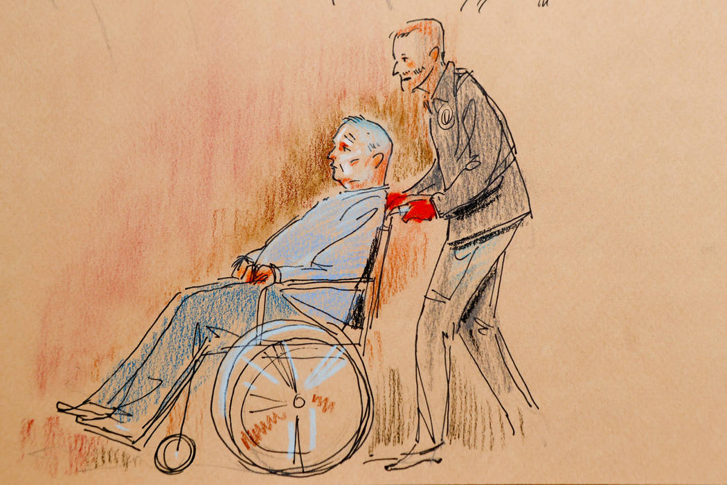 This courtroom sketch depicts Robert Gregory Bowers, who was wounded in a gun battle with police as he appeared in a wheelchair at federal court on Monday, Oct. 29, 2018, in Pittsburgh. Bowers, ac ...