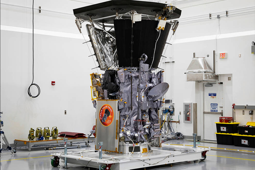 Parker Solar Probe sits in a clean room on July 6, 2018, at Astrotech Space Operations in Titusville, Florida, after the installation of its heat shield. NASA's Parker Solar Probe is now closer ...