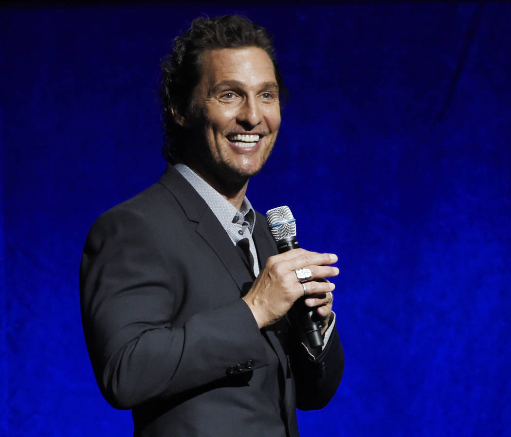 "FILE - In this April 23, 2018 file photo, Matthew McConaughey, a cast member in the upcoming film ""White Boy Rick,"" speaks during the Sony Pictures Entertainment presentation at CinemaCo ..."