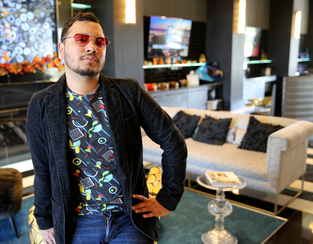 Kris Manzano, director and founder of the Las Vegas Queer Arts Film Festival, at his Henderson apartment complex Monday, Oct. 29, 2018. K.M. Cannon Las Vegas Review-Journal @KMCannonPhoto