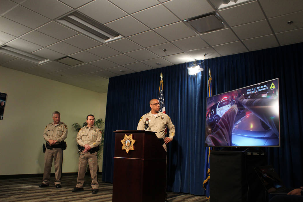 Assistant Sheriff Charles Hank briefs the media Tuesday, Oct. 30, 2018 at Metropolitan Police Department headquarters on an Oct. 27 officer-involved shooting that left one man dead in the south va ...