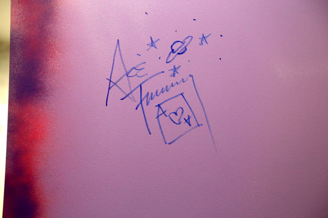 Ace Frehley of Kiss is the first to sign the wall of the green room of new music venue 172 inside the Rio in Las Vegas Monday, Oct. 29, 2018. K.M. Cannon Las Vegas Review-Journal @KMCannonPhoto