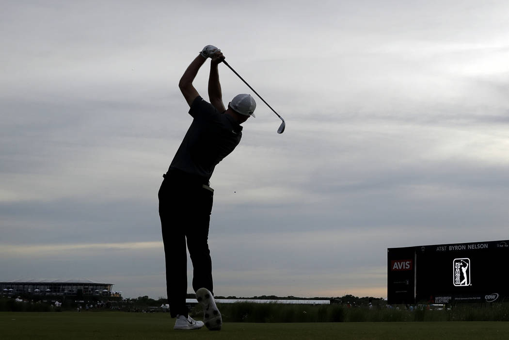 Aaron Wise hits off the 16th tee during the final round of the AT&T Byron Nelson golf tournament in Dallas, Sunday, May 20, 2018. (AP Photo/Eric Gay)
