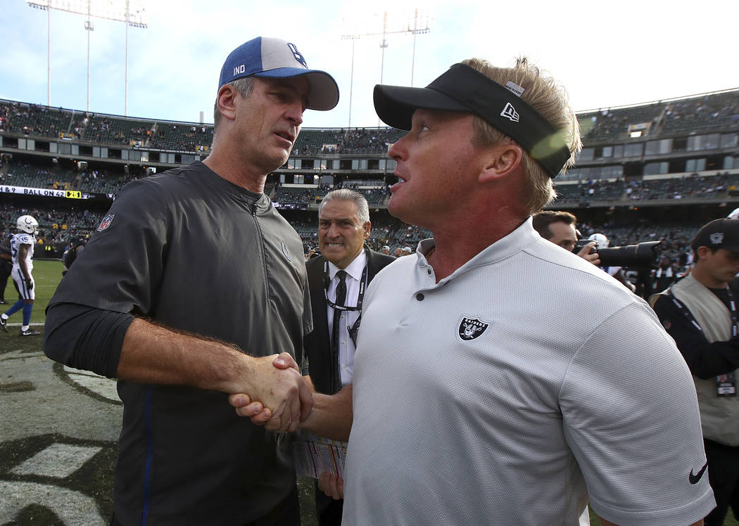 Indianapolis Colts head coach Frank Reich, left, shakes hands with Oakland Raiders head coach Jon Gruden after an NFL football game in Oakland, Calif., Sunday, Oct. 28, 2018. (AP Photo/Ben Margot)