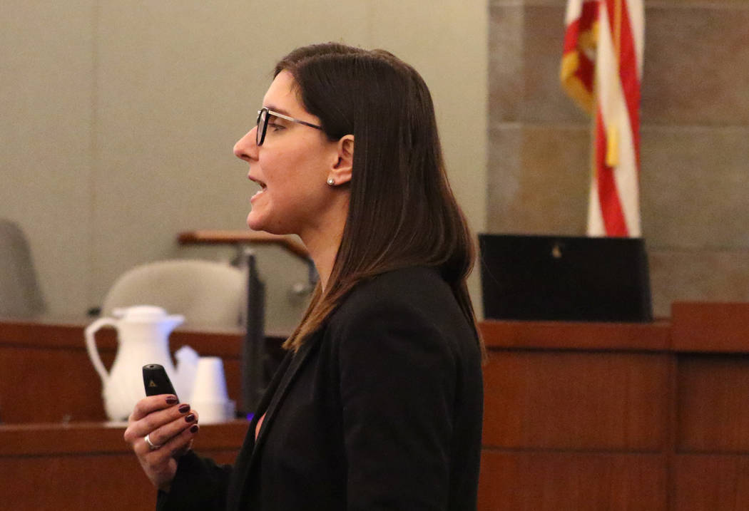 Prosecutor Kelly Einhorn delivers her closing statements in the murder trial of Norman Smith, not photographed, on Tuesday, Oct. 30, 2018, at the Regional Justice Center in Las Vegas. Smith is acc ...