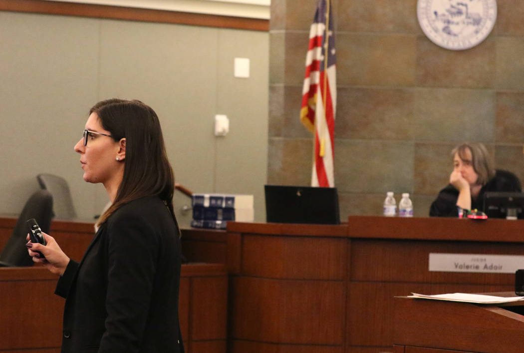Prosecutor Kelly Einhorn delivers her closing statements in the murder trial of Norman Smith, not photographed, on Tuesday, Oct. 30, 2018, as judge Valerie Adair, right, looks on at the Regional J ...