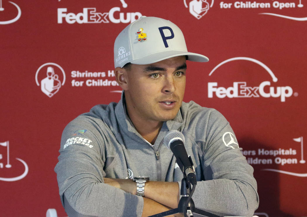 Rickie Fowler speaks during a press conference after the first day of the Shriners Hospitals for Children Open golf tournament at TPC Summerlin on Wednesday, Oct. 31, 2018, in Las Vegas. Bizuayehu ...