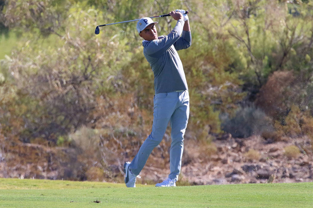 Rickie Fowler watches his drive during the Shriners Hospitals for Children Open golf tournament at TPC Summerlin on Wednesday, Oct. 31, 2018, in Las Vegas. Bizuayehu Tesfaye/Las Vegas Review-Journ ...