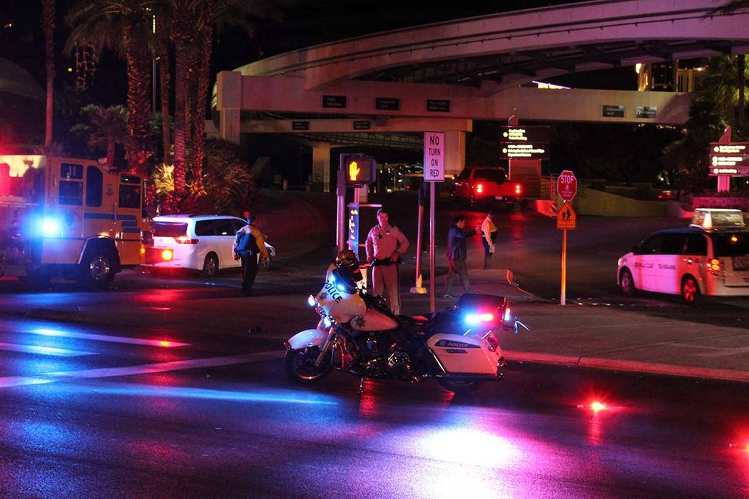 A bicyclist was hospitalized Wednesday, Oct. 31, 2018, after a crash at an off-Strip entrance to the MGM Grand. (Max Michor/Las Vegas Review-Journal)