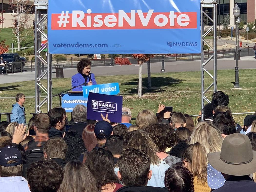 Nevada U.S. Rep. Jacky Rosen, the Democratic candidate for Senate against incumbent Republican Dean Heller, speaks Thursday, Oct. 25, at a Democratic Get-Out-The-Vote rally at the University of Ne ...