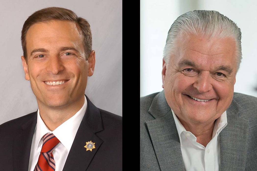 Nevada gubernatorial candidates Adam Laxalt, left, and Steve Sisolak.