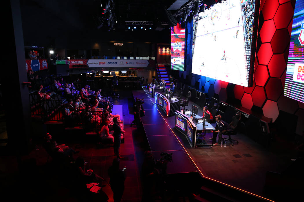 Players compete in the NHL Gaming World Championship at Esports Arena inside the Luxor casino-hotel in Las Vegas, Tuesday, June 19, 2018. Erik Verduzco Las Vegas Review-Journal @Erik_Verduzco