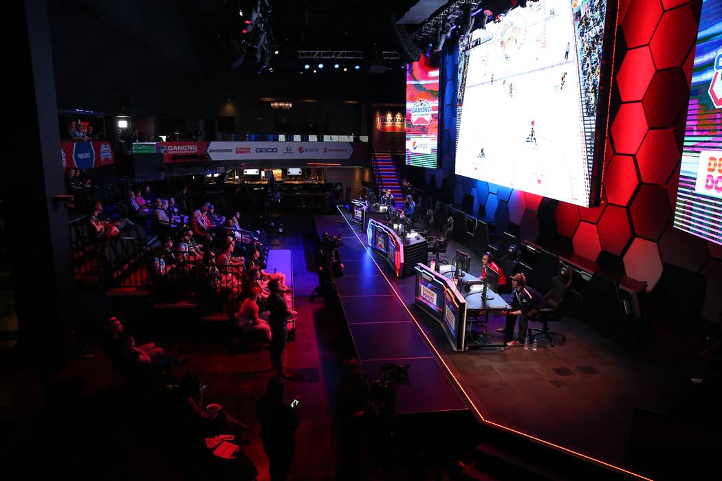 Players compete in the NHL Gaming World Championship at Esports Arena inside the Luxor casino-hotel in Las Vegas, Tuesday, June 19, 2018. Erik Verduzco Las Vegas Review-Journal @Erik_Verduzco