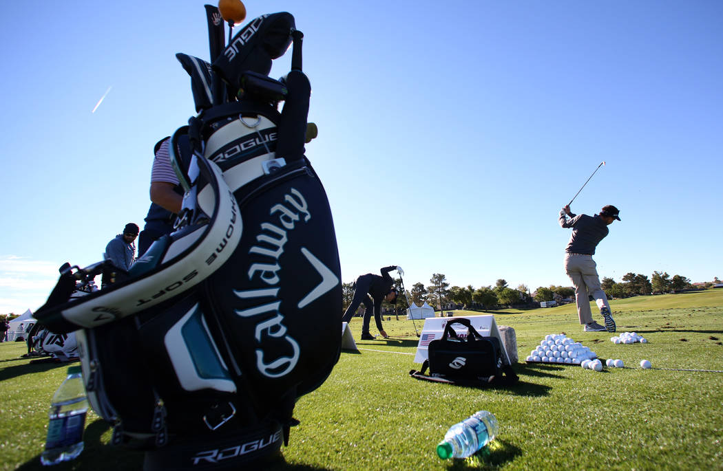 Chase Wright practices at a driving range as he prepares for the Shriners Hospitals for Children Open golf tournament at TPC Summerlin on Wednesday, Oct. 31, 2018, in Las Vegas. Bizuayehu Tesfaye/ ...