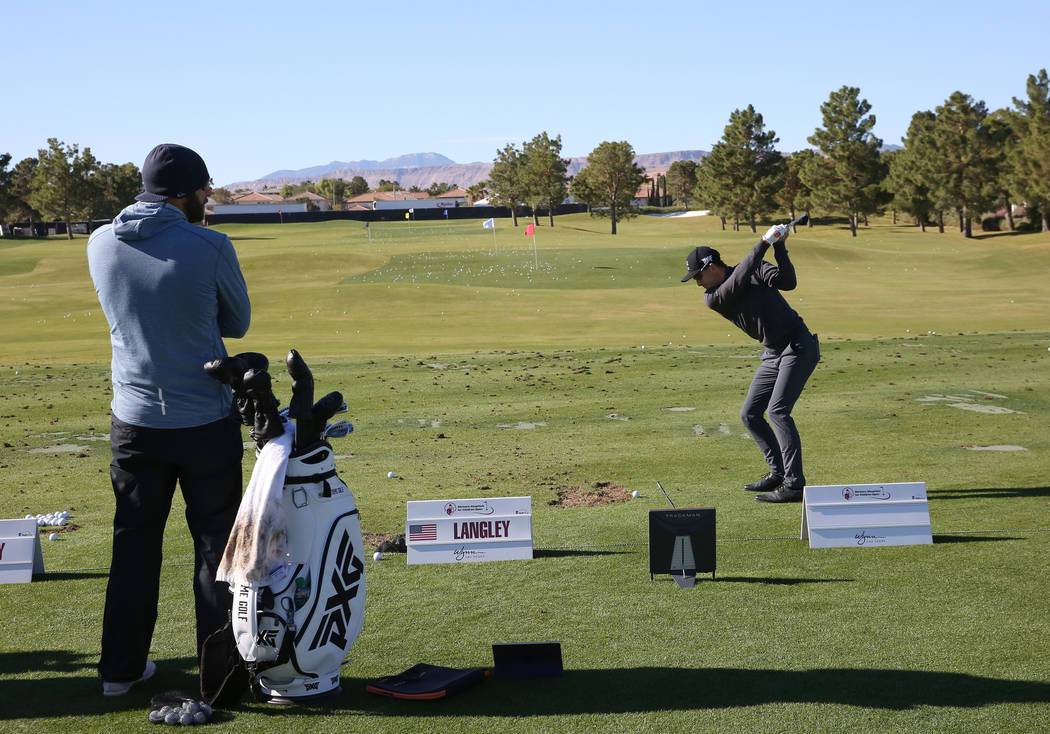 Scott Langley practices at a driving range as he prepares for the Shriners Hospitals for Children Open golf tournament at TPC Summerlin on Wednesday, Oct. 31, 2018, in Las Vegas. Bizuayehu Tesfaye ...