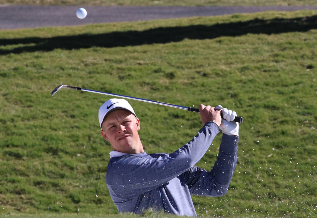Nick Hardy hits from sand trap during his practice as he prepares for the Shriners Hospitals for Children Open golf tournament at TPC Summerlin on Wednesday, Oct. 31, 2018, in Las Vegas. Bizuayehu ...
