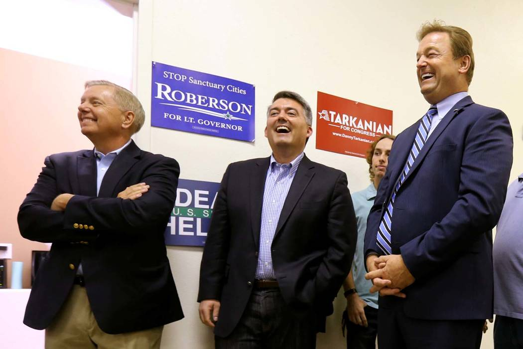 Sen. Lindsey Graham, R-S.C., left, Sen. Cory Gardner, R-Colo., and Sen. Dean Heller, R-Nev., attend a campaign event for Heller and 3rd Congressional District candidate Danny Tarkanian, Friday, Oc ...