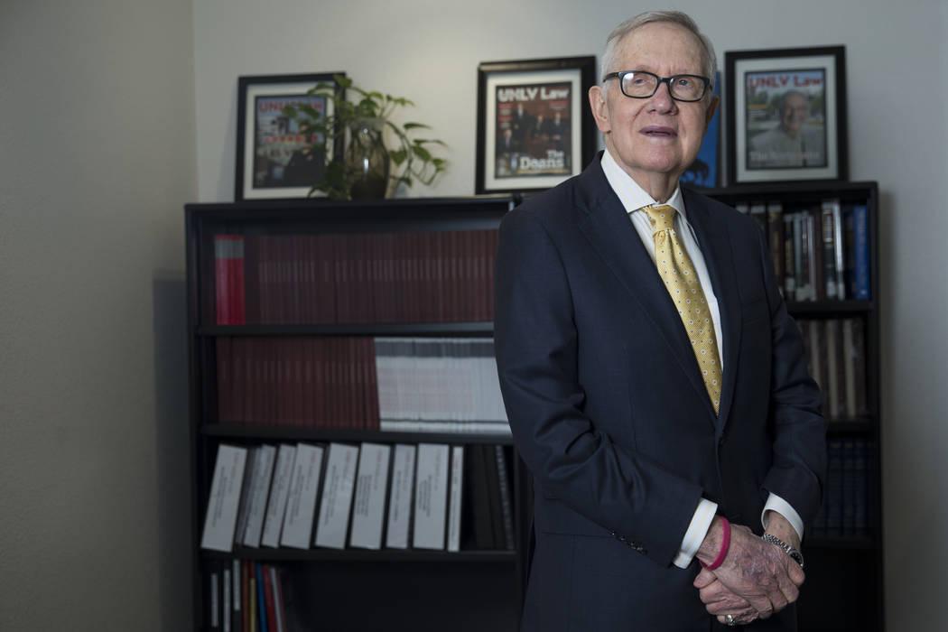 Former U.S. Senate Majority Leader Harry Reid during an interview at UNLV's William S. Boyd School of Law building in Las Vegas, Friday, March 16, 2018. (Erik Verduzco/Las Vegas Review-Journal) @E ...