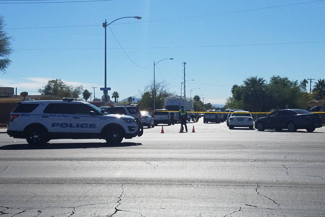 North Las Vegas police are investigating an officer-involved shooting Wednesday. (Mike Shoro/Las Vegas Review-Journal)