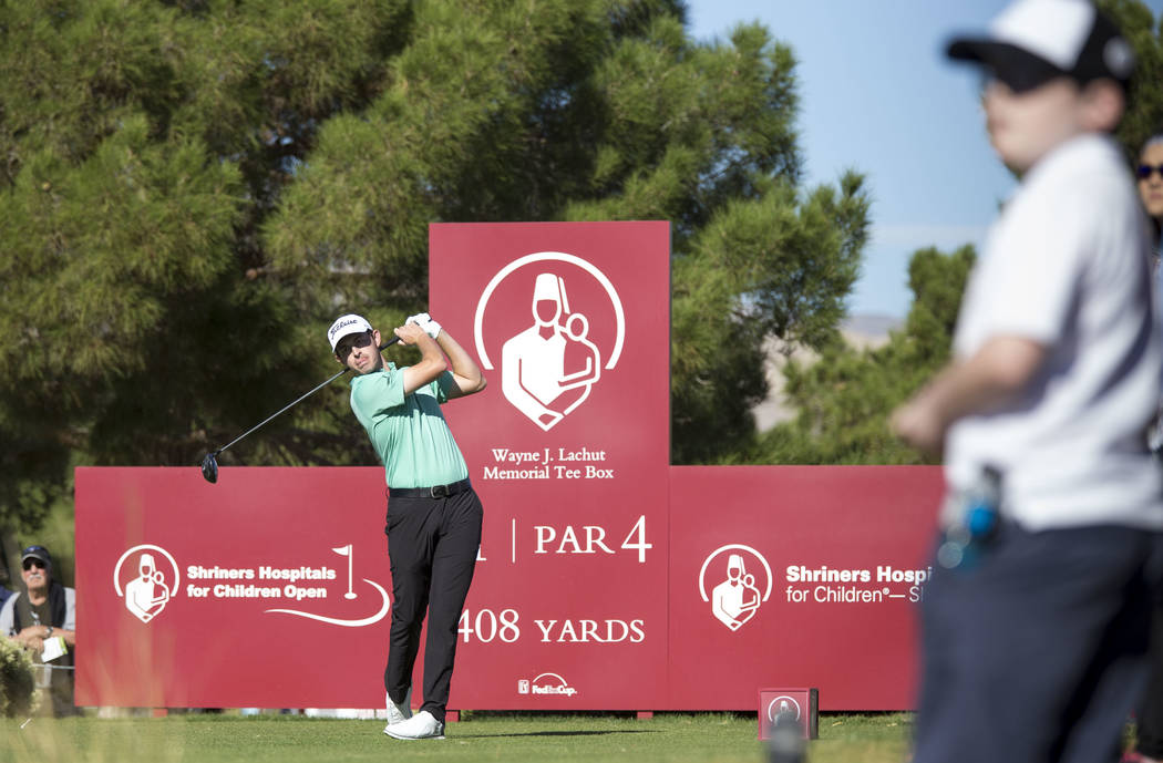 Patrick Cantlay of California plays a tee shot on the first hole during the final round of the Shriners Hospitals For Children Open at TPC at Summerlin in Las Vegas, Sunday, Nov. 5, 2017. Richard ...