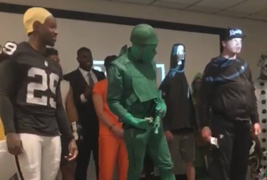 Raiders wide receiver Saeed Blacknall (middle) won the team's rookie Halloween costume contest while dressed in a self-designed toy soldier outfit on Oct. 31, 2018. (Courtesy: Saeed Blacknall)