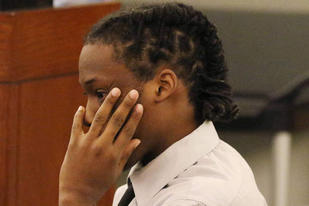 Norman Smith, accused of shooting and killing Tinesha Antovia Adams, who was pregnant, appears Tuesday during his murder trial at the Regional Justice Center in Las Vegas. Bizuayehu Tesfaye/Las Ve ...