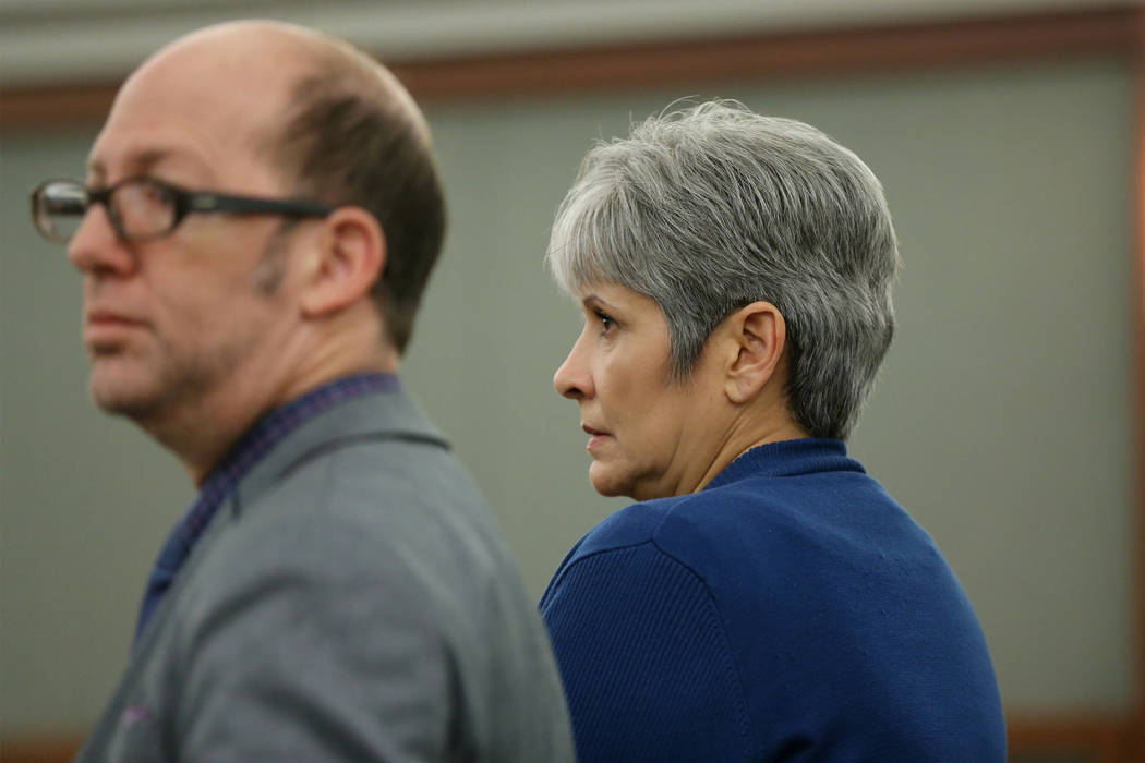 Jerry Meador, right, during her sentencing hearing with her attorney Dayvid Figler at the Regional Justice Center in Las Vegas, Wednesday, Oct. 31, 2018. Meador, who was convicted of theft, receiv ...