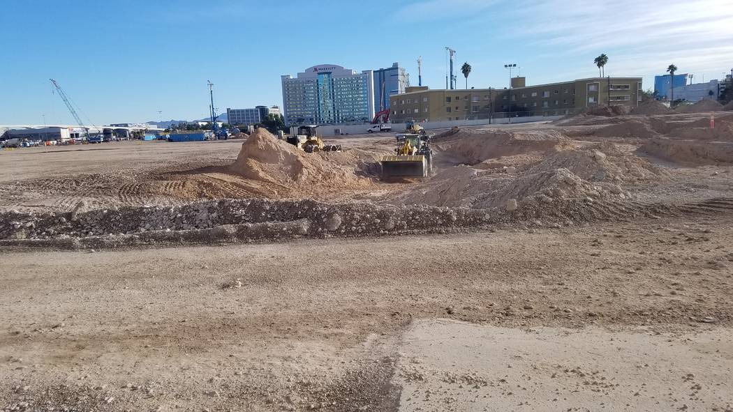 Crews work on the foundation of the Las Vegas Convention and Visitors Authority's $935.1 million convention center expansion on Wednesday, Oct. 31, 2018, on the north end of the construction site, ...