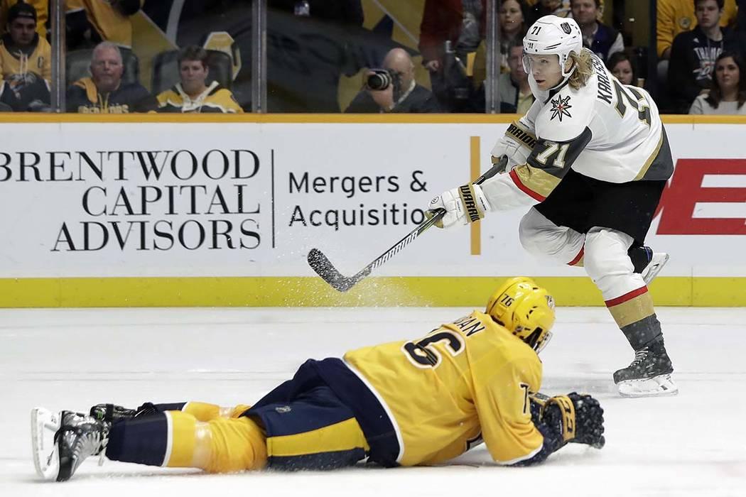 Vegas Golden Knights center William Karlsson (71) shoots past Nashville Predators defenseman P.K. Subban (76) in the first period of an NHL hockey game Tuesday, Oct. 30, 2018, in Nashville, Tenn. ...