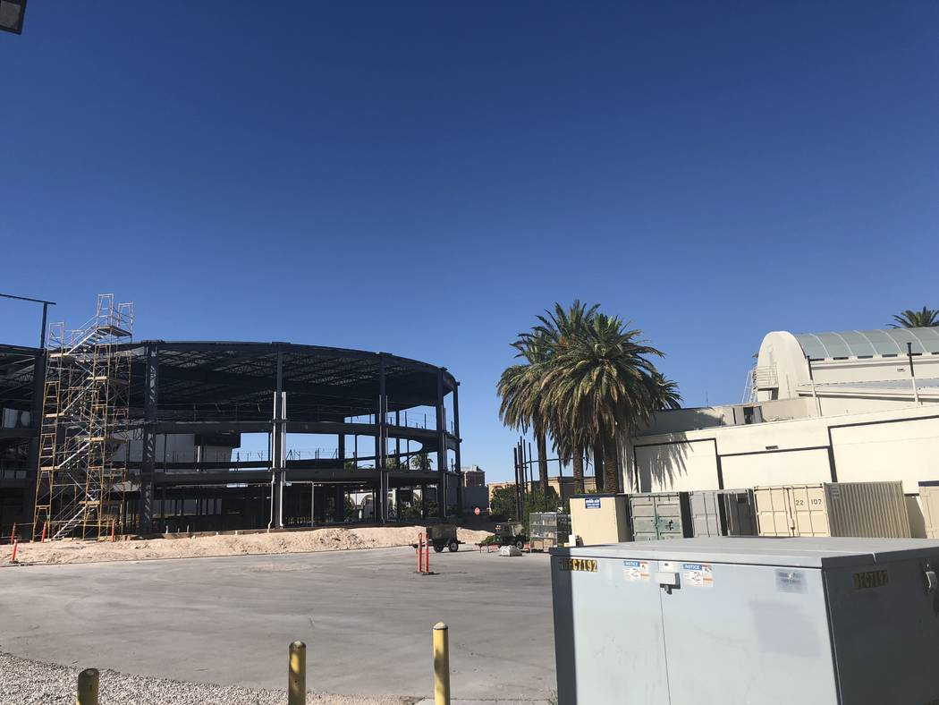 "A look at the shell of Voice Theater, which was to be home for ""The Voice -- Neon Dreams"" at Hard Rock Hotel on June 20, 2018. (John Katsilometes)"