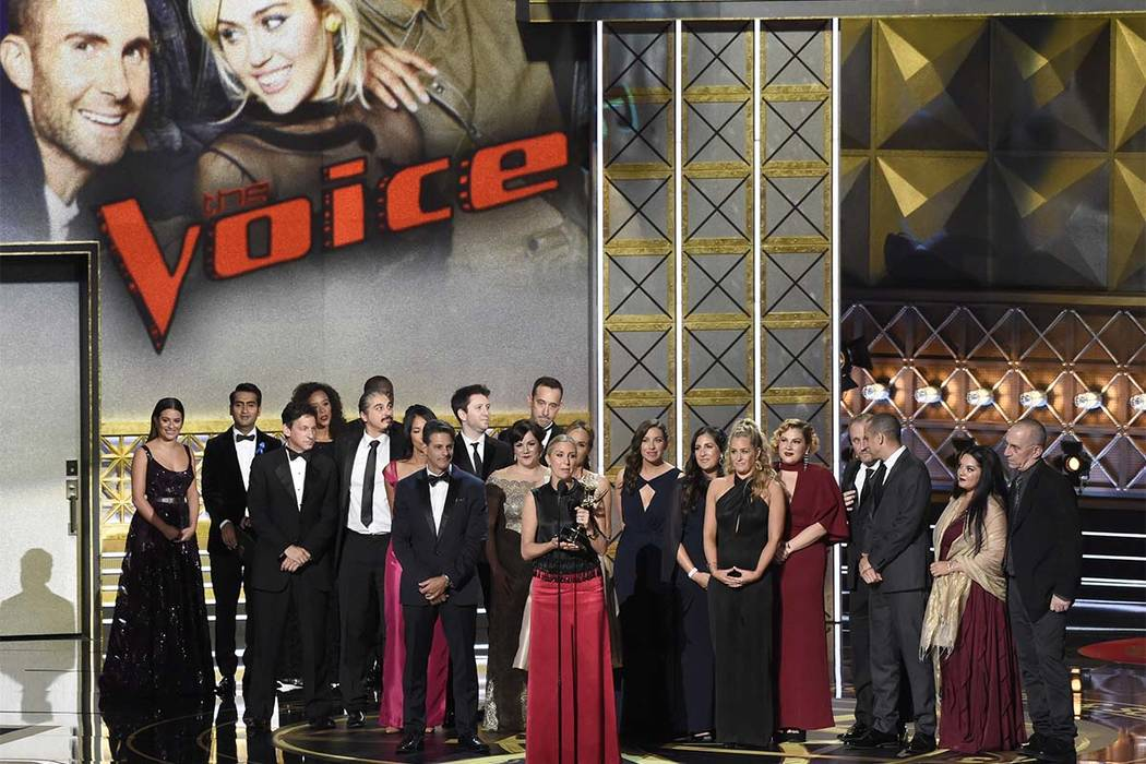 """Audrey Morrissey accepts the award for outstanding reality-competition program for """"The Voice"""" at the 69th Primetime Emmy Awards on Sunday, Sept. 17, 2017, at the Microsoft Theater in Lo ..."""