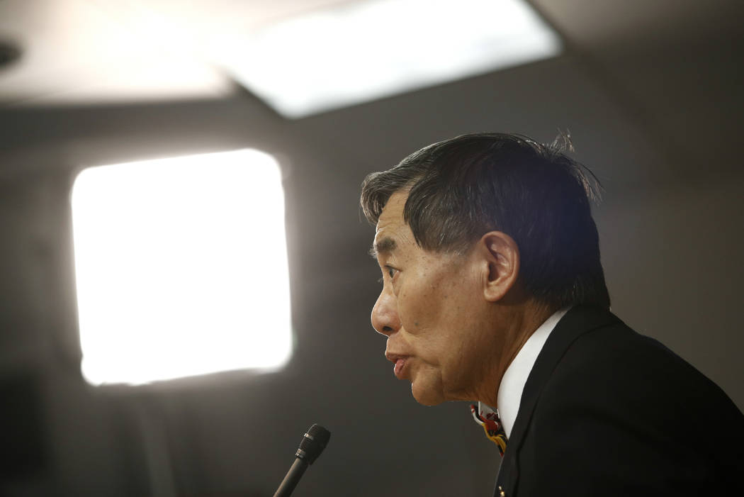 University of Maryland president Wallace Loh speaks at a news conference following the board of regents' recommendation that football head coach DJ Durkin retain his job, Tuesday, Oct. 30, 2018, i ...