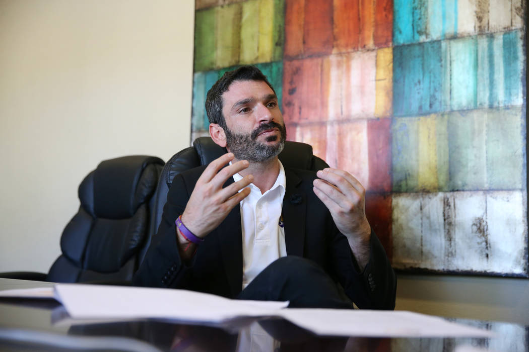 Arash Ghafoori, director for the Nevada Partnership for Homeless Youth in Las Vegas, is interviewed at NPHY in Las Vegas, Wednesday, Oct. 31, 2018. Erik Verduzco Las Vegas Review-Journal @Erik_Ver ...