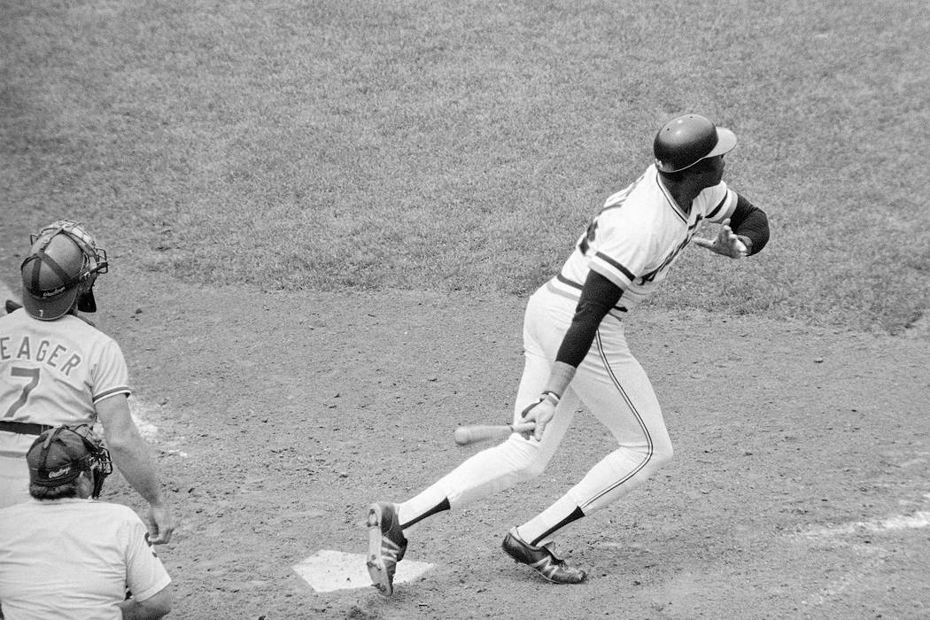 San Francisco Giants pinch-hitter Willie McCovey follows through on a walk-off RBI double against the Los Angeles Dodgers in a baseball game at Candlestick Park in San Francisco on June 29, 1980. ...