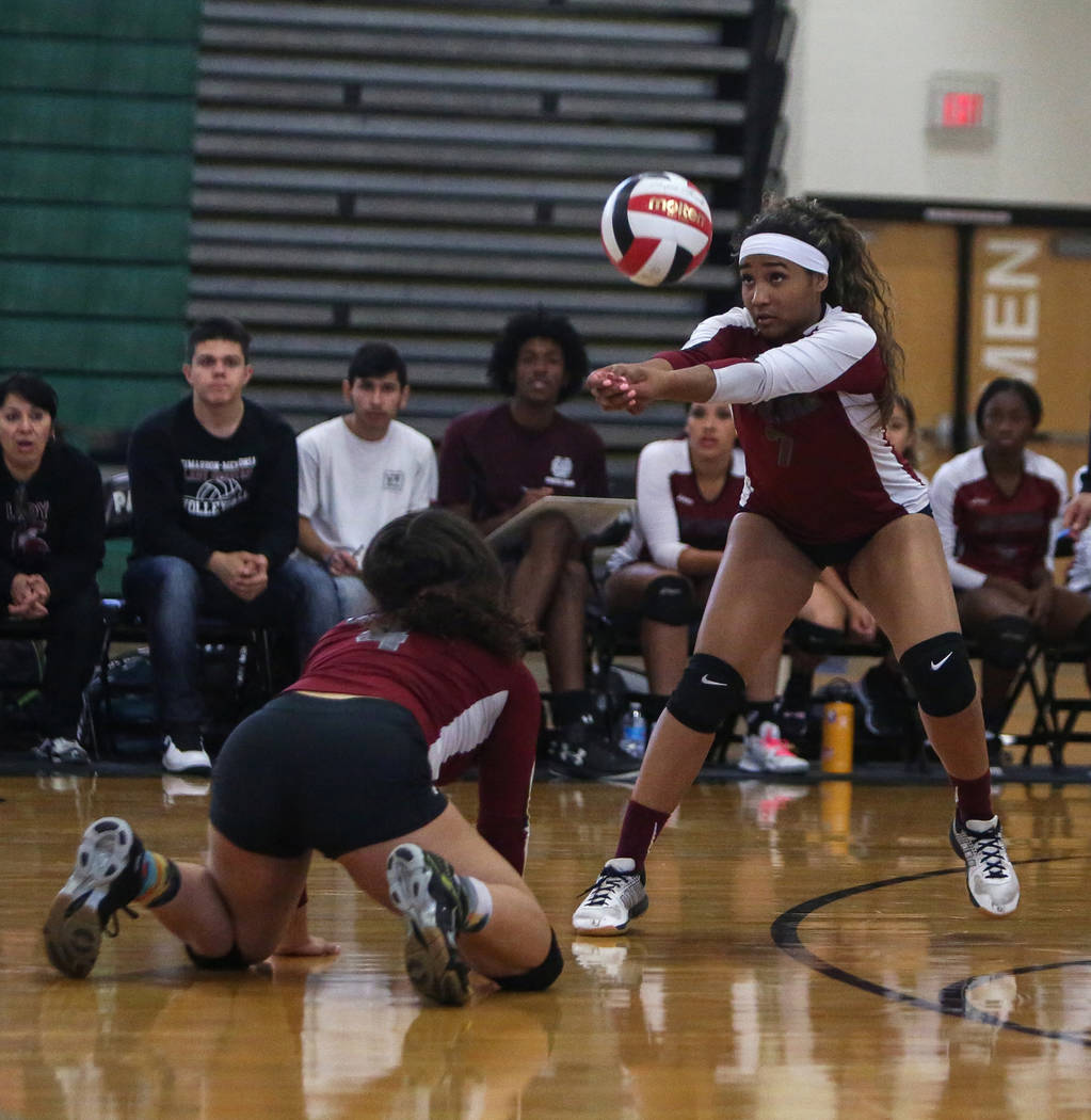 Cimarron Memorial High School's Mya'Liah Bethea hits the ball during a point against Las Vegas High School at the Summerlin Center in Las Vegas, Wednesday, Oct. 31, 2018. Caroline Brehman/Las Vega ...