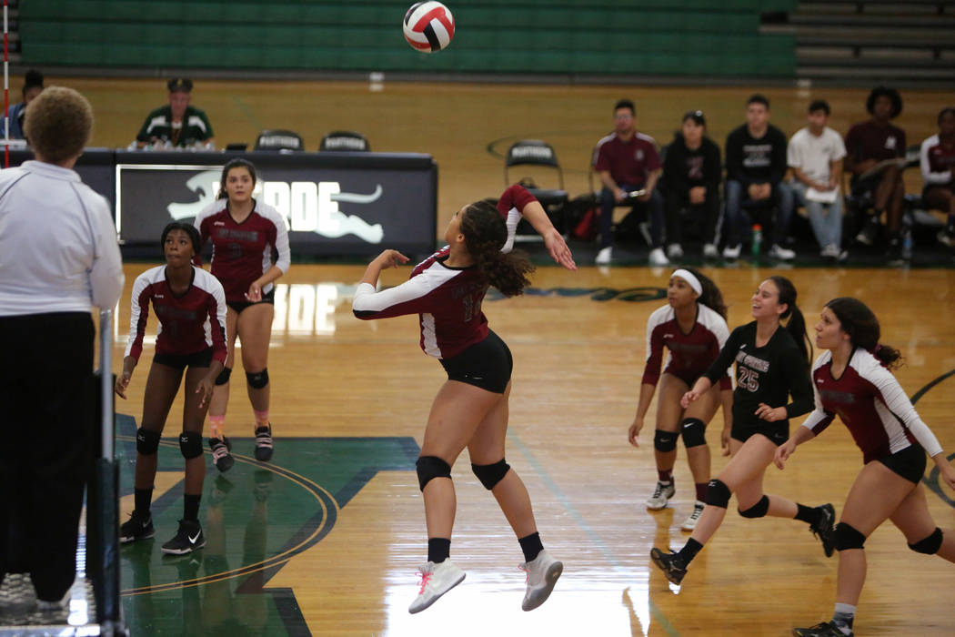 Cimarron Memorial High School's Tia Hayes jumps up to hit the ball during a game against Las Vegas High School at the Summerlin Center in Las Vegas, Wednesday, Oct. 31, 2018. Caroline Brehman/Las ...