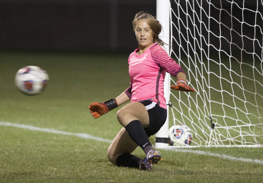 Green Valley junior goal keeper Nicolette De La Carrera (11) gives up a penalty kick goal in the first half during the Gators game with Foothill High School on Wednesday, October 31, 2018, at Bett ...