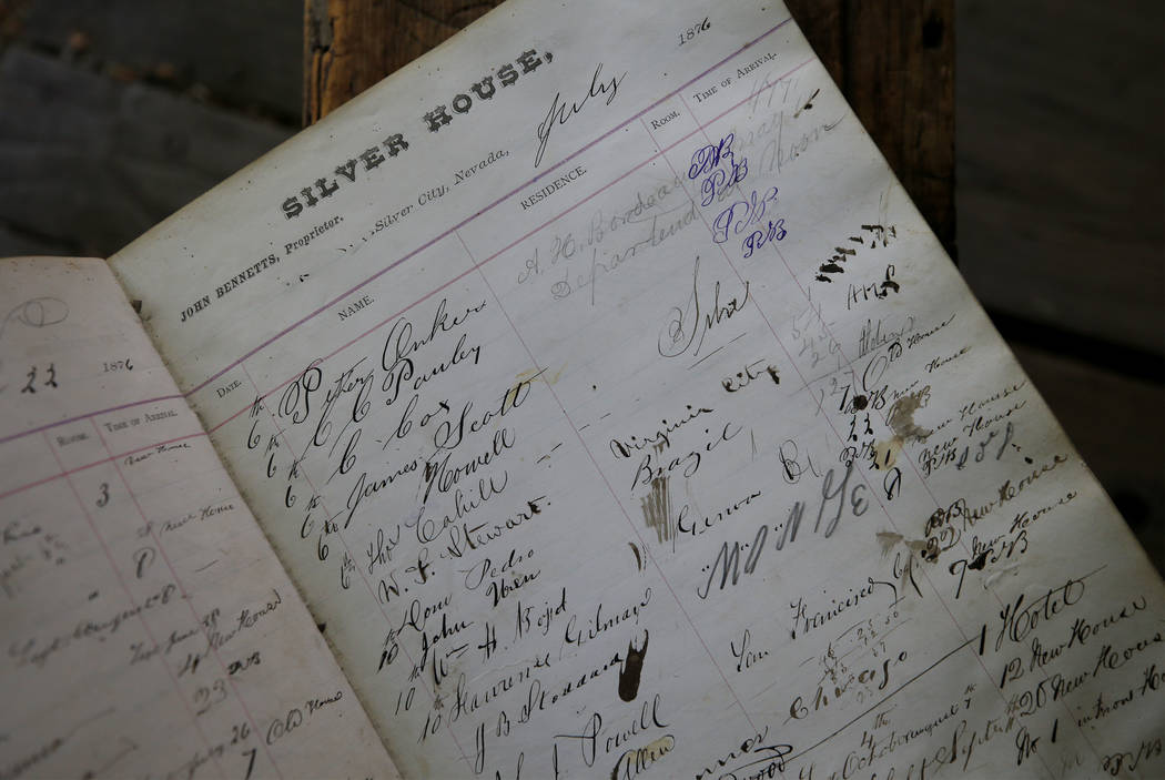 Ron Bommarito has spent a lifetime traveling the state collecting pieces of Nevada history for his Genoa Museum and Archives, in Genoa, Nev., including this guest ledger kept at the old Silver Hou ...