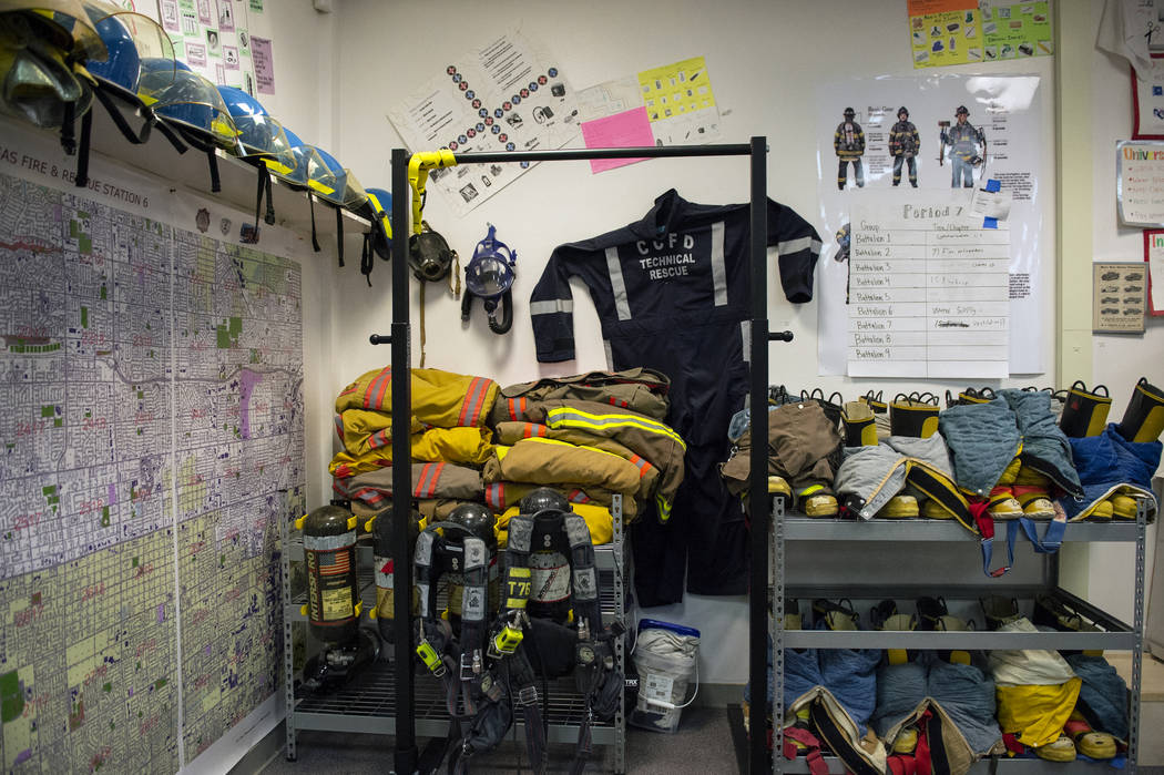 Fire fighter equipment lines the back corner of the classroom for students at Bonanza High School Fire Science Academy at Bonanza High School in Las Vegas, Thursday, Oct. 11, 2018. Caroline Brehma ...