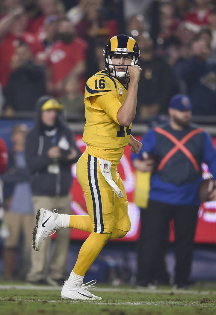 Los Angeles Rams quarterback Jared Goff (16) reacts after a touchdown during the second half of an NFL football game against the Kansas City Chiefs, Monday, Nov. 19, 2018, in Los Angeles. (AP Phot ...