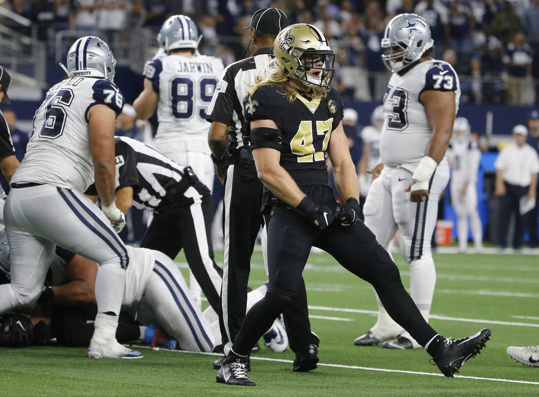 New Orleans Saints middle linebacker Alex Anzalone (47) celebrates after Dallas Cowboys quarterback Dak Prescott fumbles and New Orleans recovered the ball during the second half of an NFL footbal ...