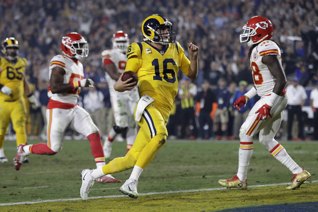 Los Angeles Rams quarterback Jared Goff (16) scores a touchdown during the second half of an NFL football game against the Kansas City Chiefs, Monday, Nov. 19, 2018, in Los Angeles. (AP Photo/Marc ...